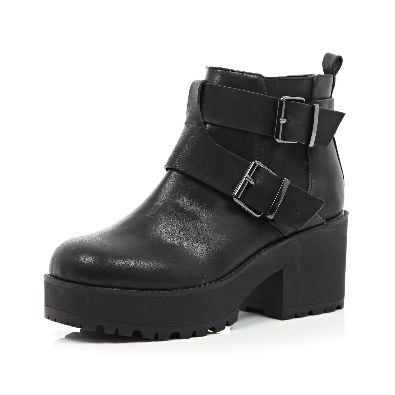 4d1ed6b53e7 River Island Black Buckle Trim Chunky Sole Ankle Boots