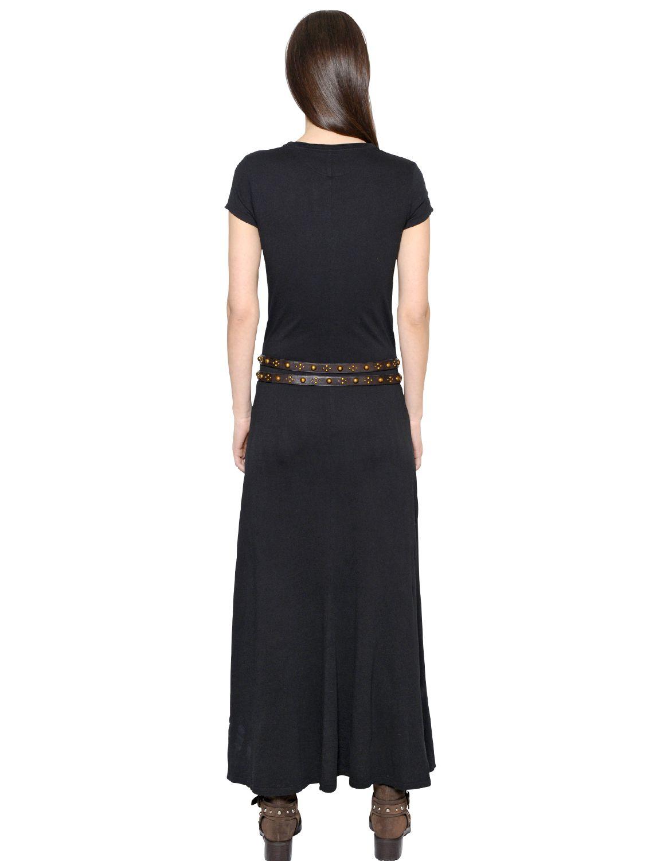 Polo Ralph Lauren Cotton Jersey Maxi Dress In Black Lyst