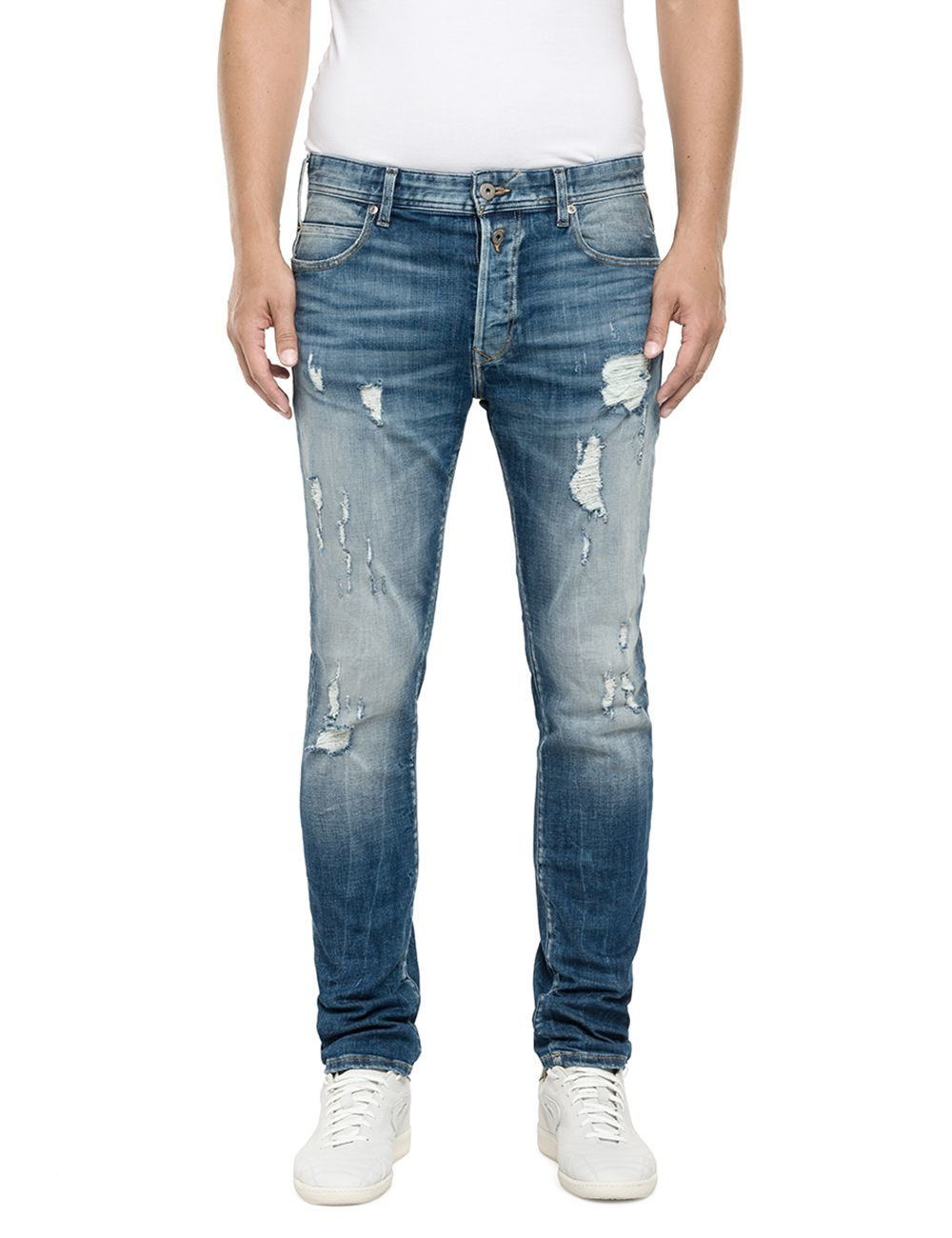 Replay Rbj.901 Tapered Fit Jeans in Blue for Men | Lyst