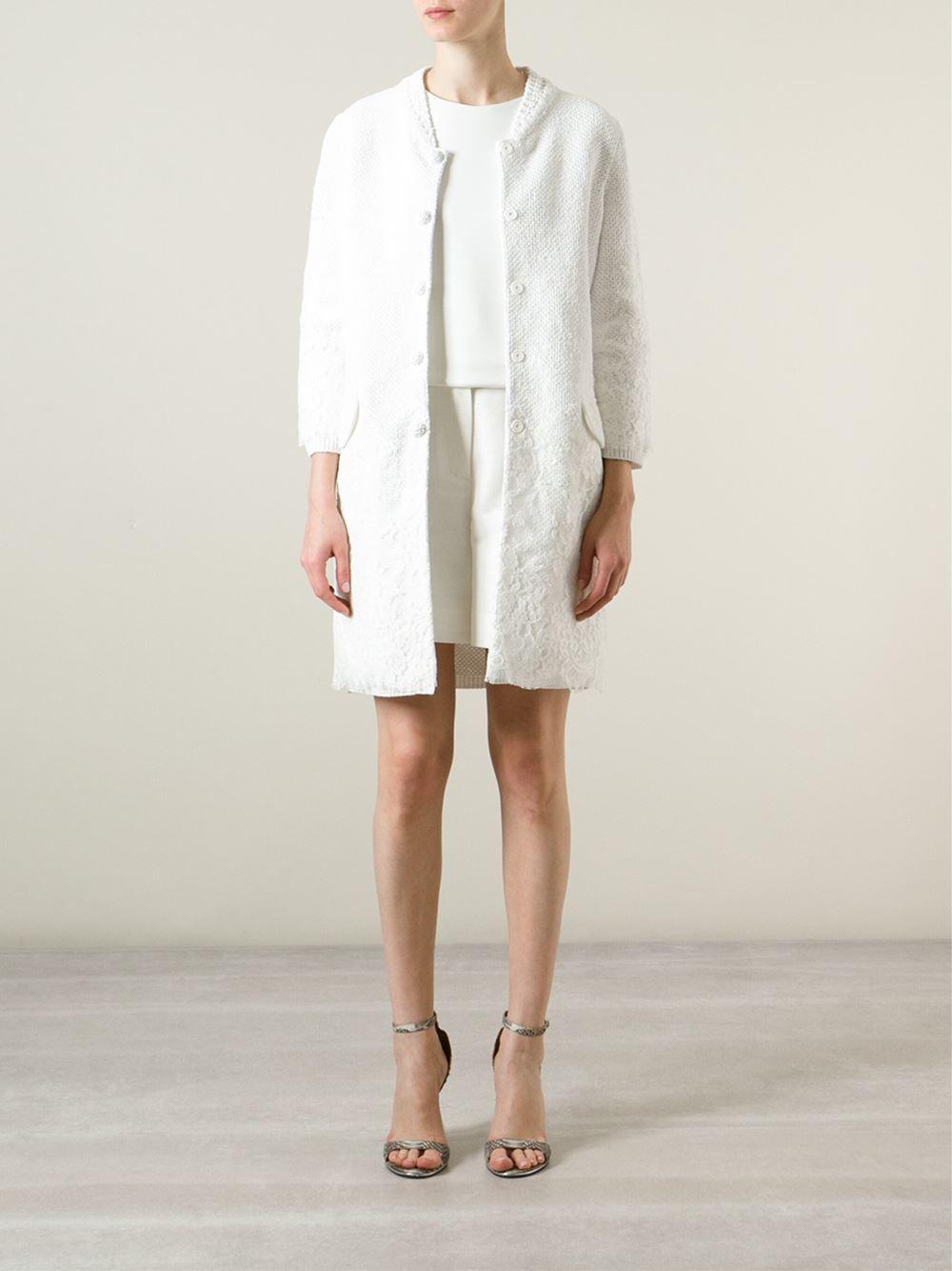 Ermanno scervino Cotton Lace Coat in White | Lyst