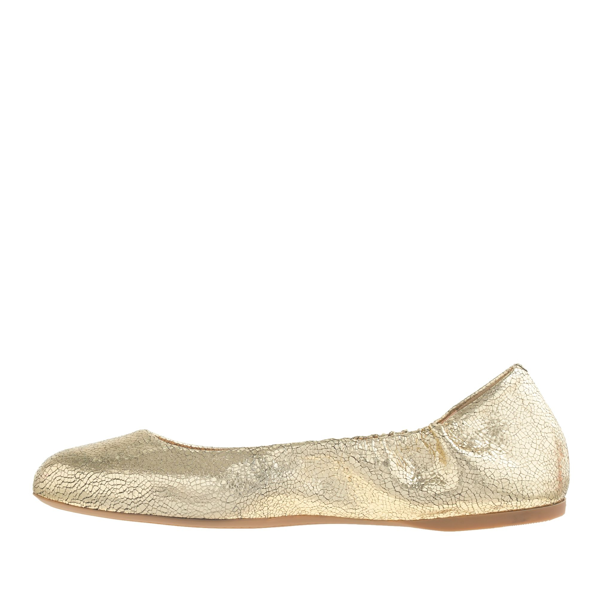 Lyst - J.Crew Preorder Emma Crackled Metallic Leather Ballet Flats ... 0d3fecb5f