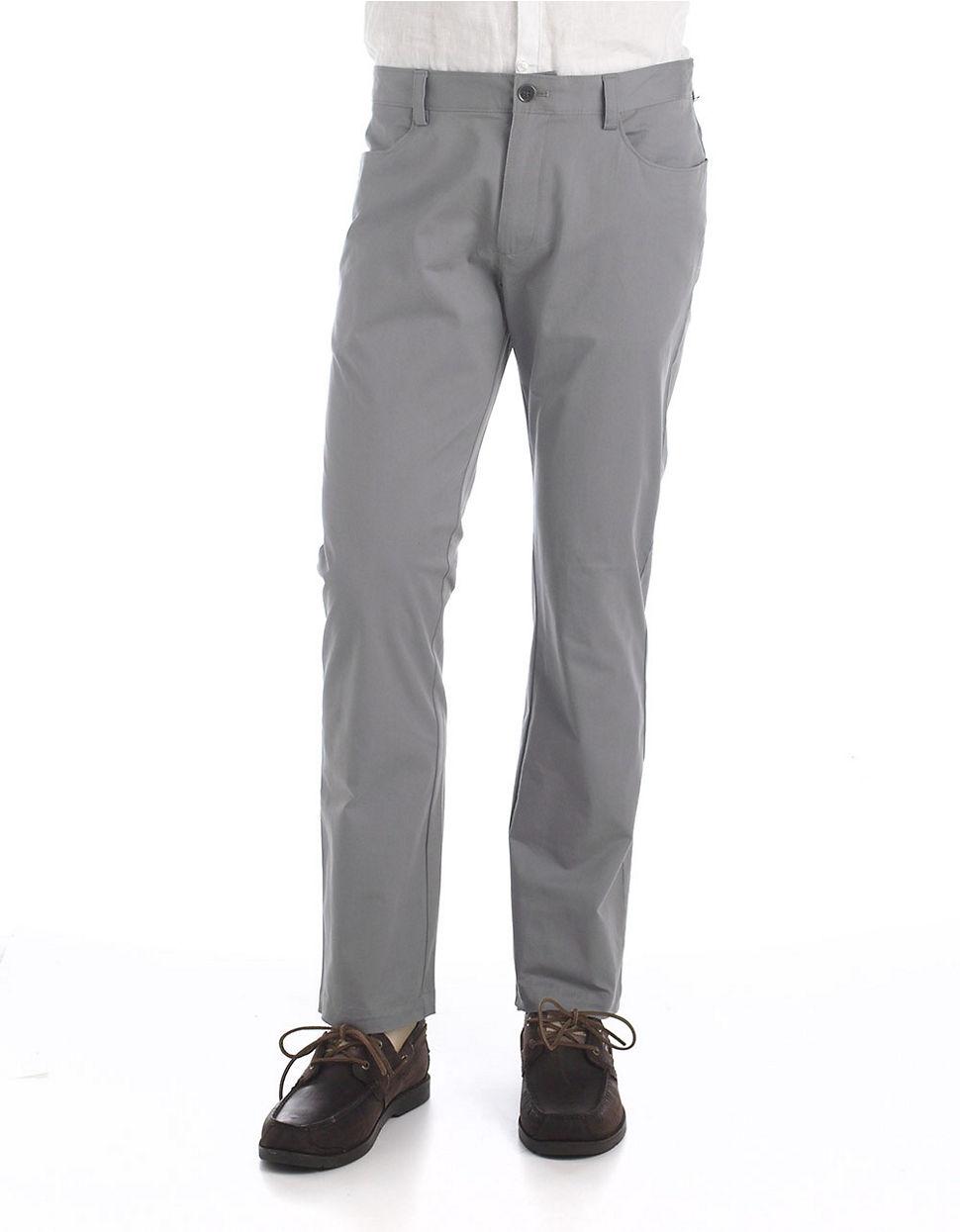 Calvin klein slim fit stretch pants in gray for men for Calvin klein slim fit stretch shirt