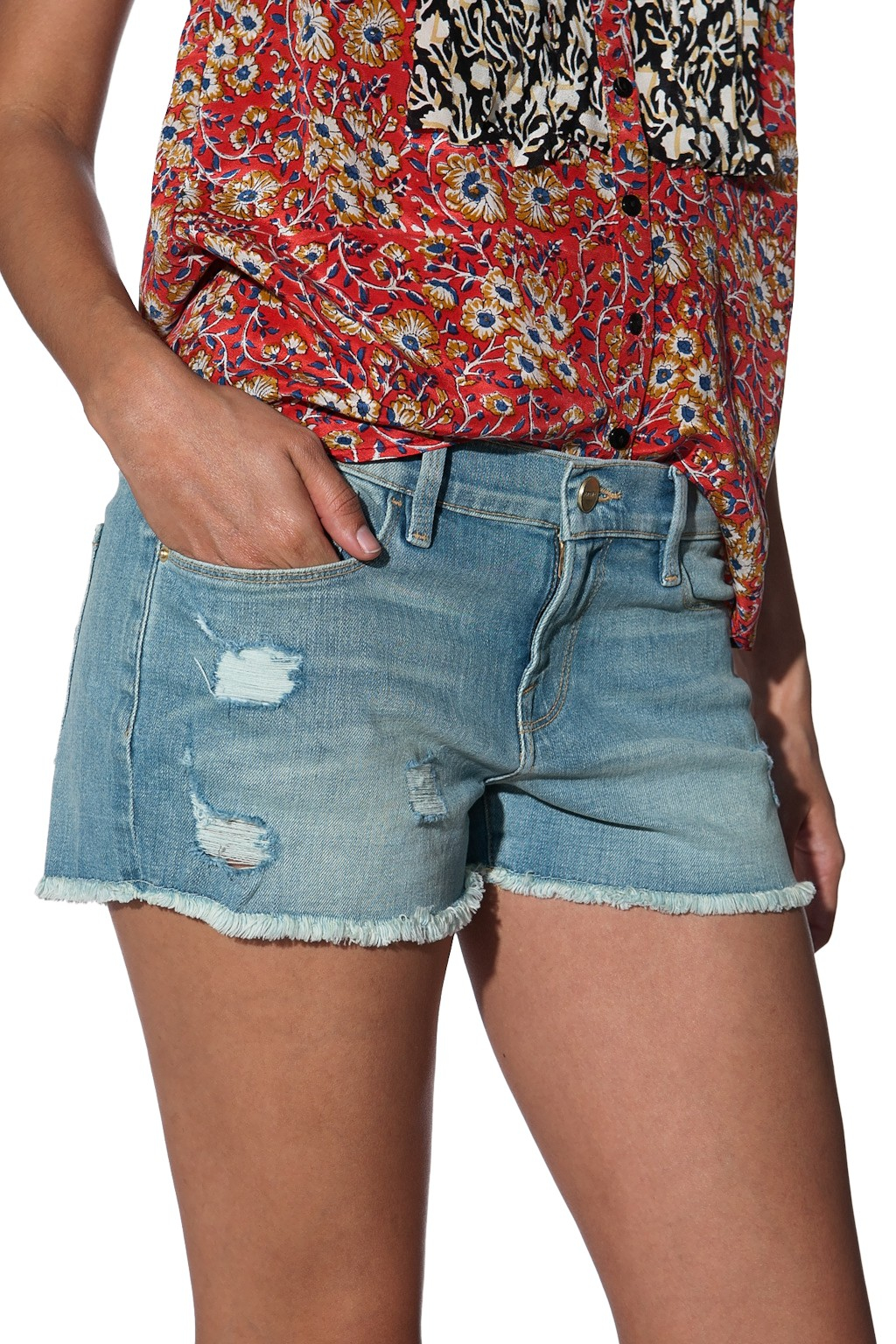 Frame denim Cut Off Jean Shorts in Green