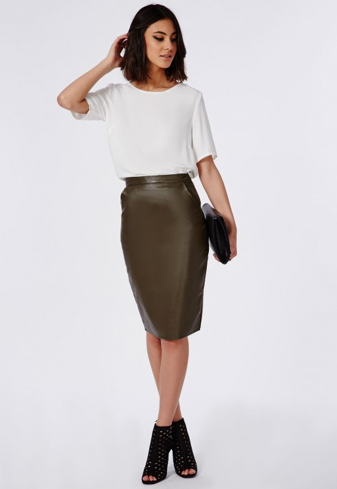 53104a86b1 Missguided Mariota Faux Leather Midi Skirt Khaki in Natural - Lyst