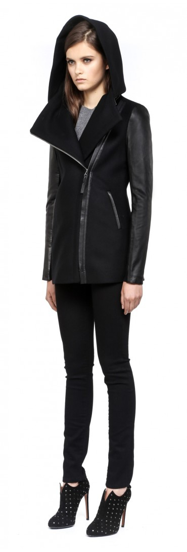 cf8b198001a Lyst - Mackage Odilia Black Hooded Winter Wool Jacket with Leather ...