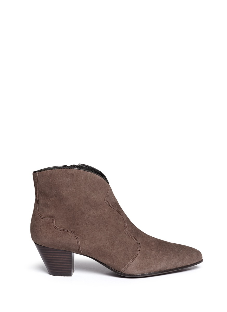 ash hurrican suede cowboy ankle boots in brown lyst