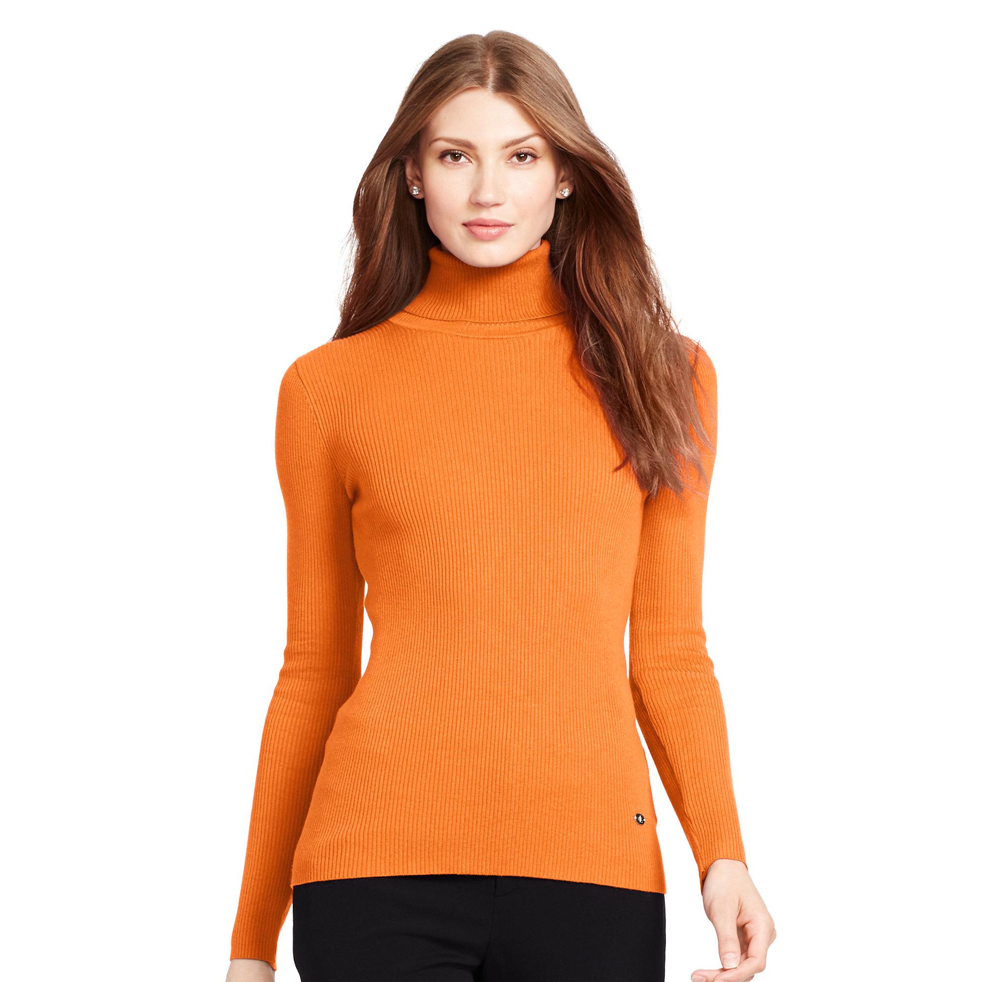 Ralph lauren Ribbed Turtleneck Sweater in Orange   Lyst