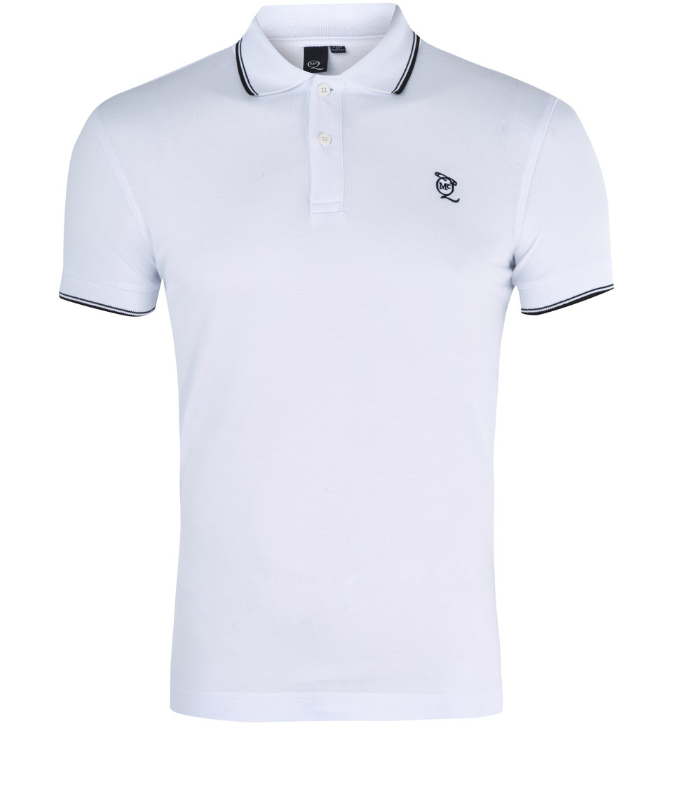 Lyst mcq white logo cotton polo shirt in white for men for Man in polo shirt