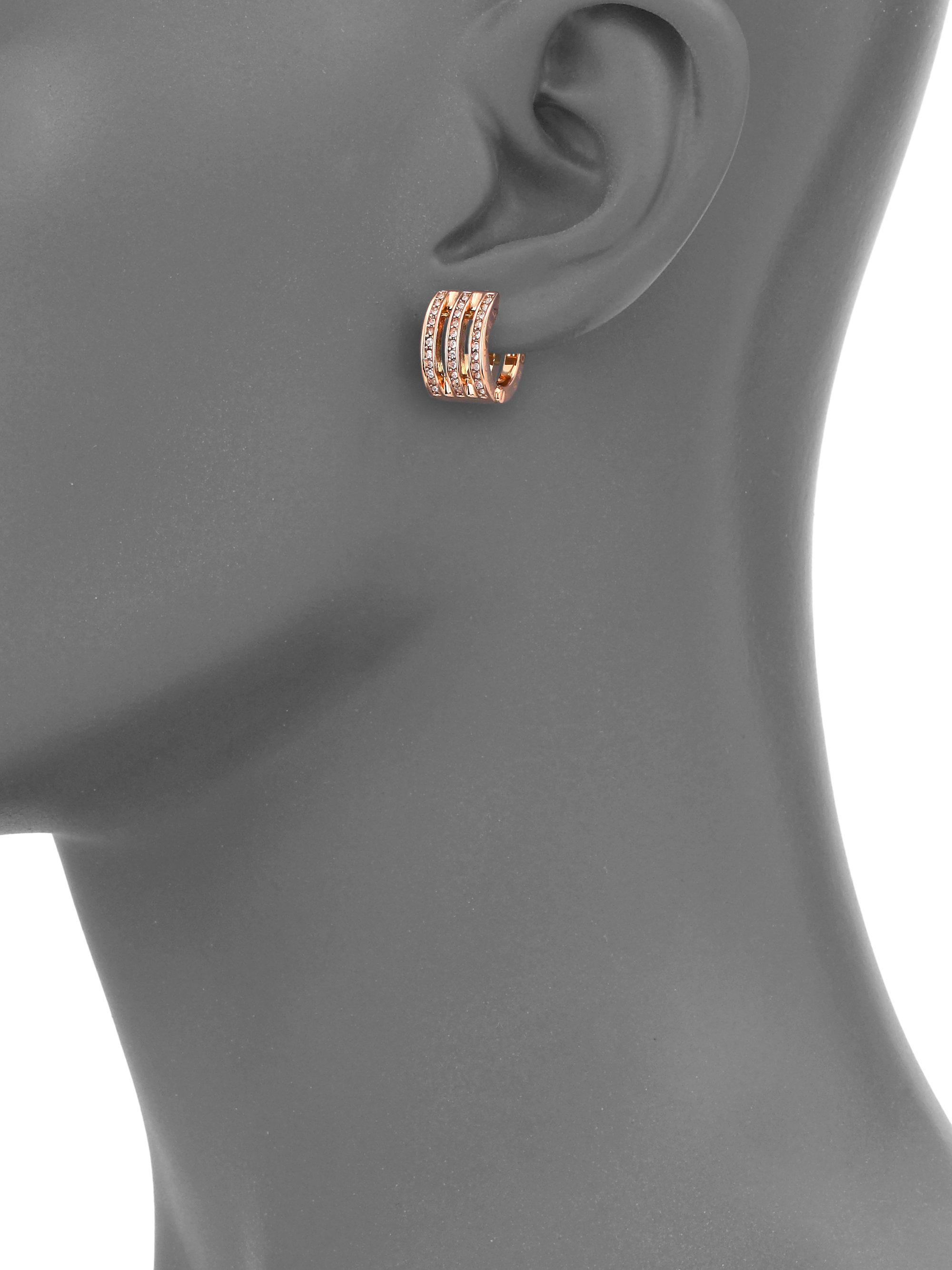 addd2b2610af78 Michael Kors Motif Pave Bar Rose Goldtone Huggie Hoop Earrings/0.35 ...