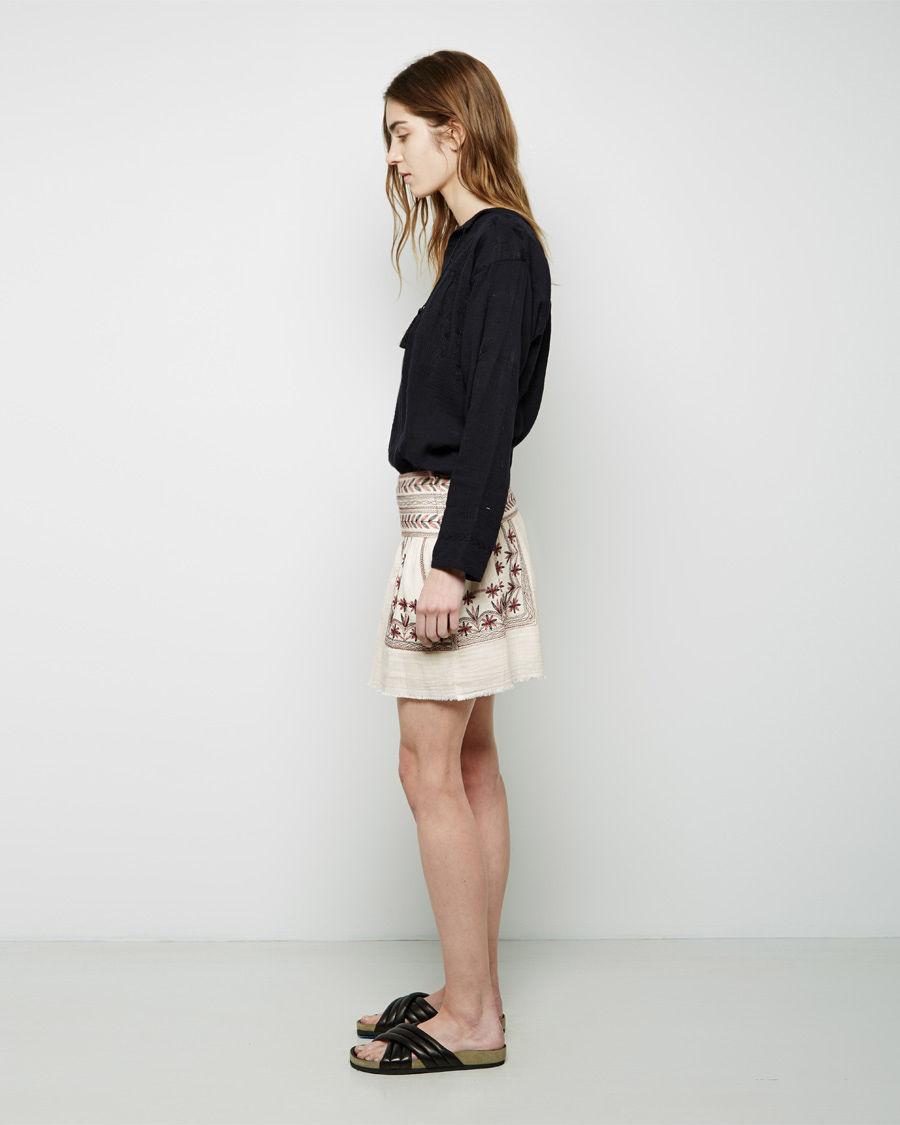 toile isabel marant vera skirt in white lyst. Black Bedroom Furniture Sets. Home Design Ideas