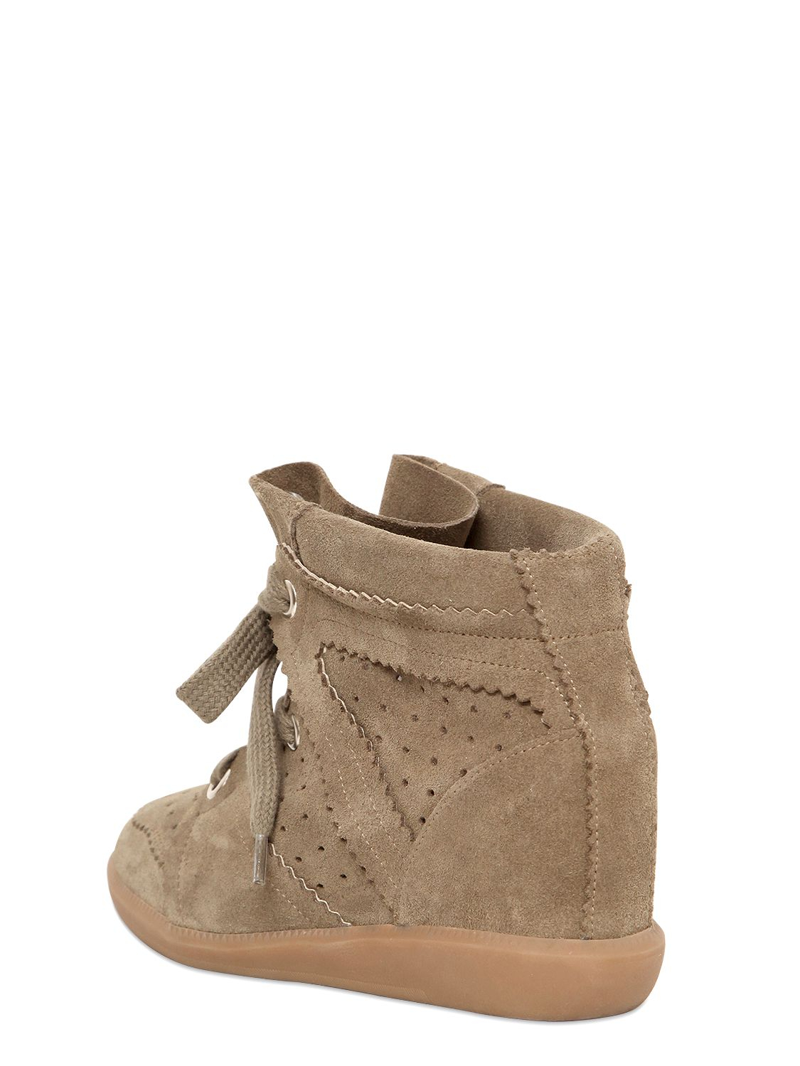 isabel marant etoile 80mm bobby suede wedge sneakers in. Black Bedroom Furniture Sets. Home Design Ideas
