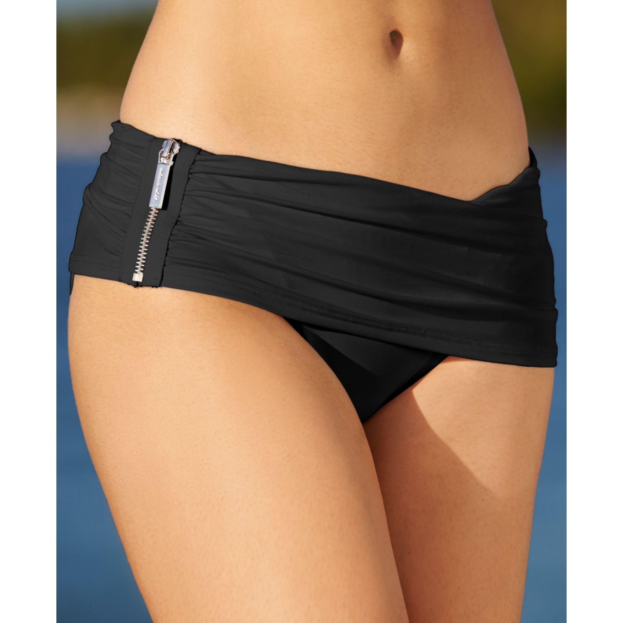 57d0165063a0d Lyst - Michael Kors Michael Exposed Zipper Asymmetrical Swim Skirt ...