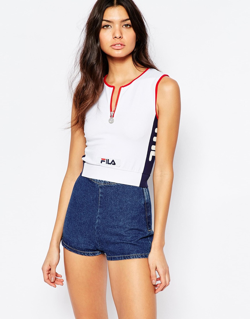 fila fitted crop top with zip front detail in white lyst. Black Bedroom Furniture Sets. Home Design Ideas