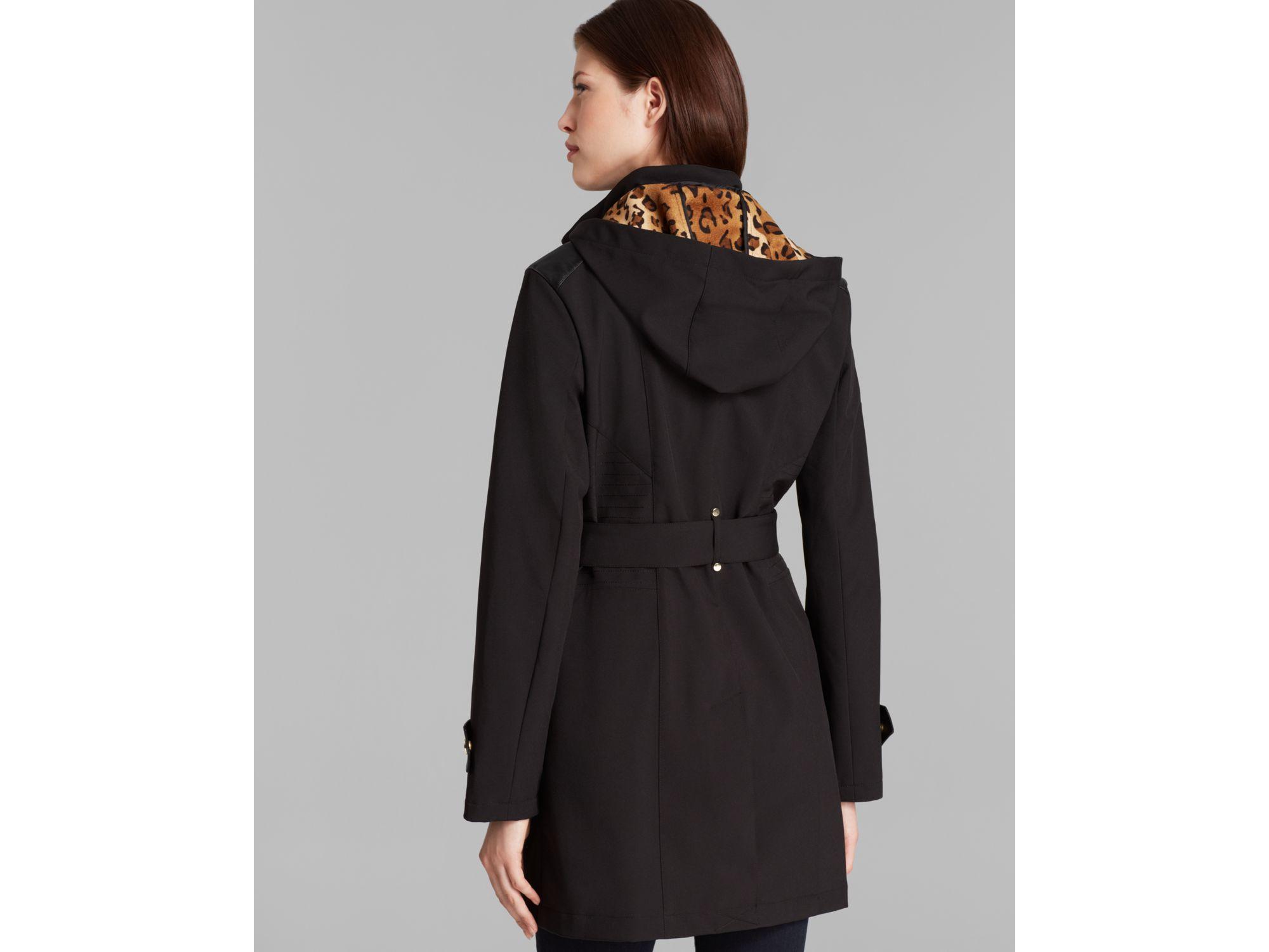 Via spiga Coat - Hooded Soft Shell Walker With Belt in Black | Lyst