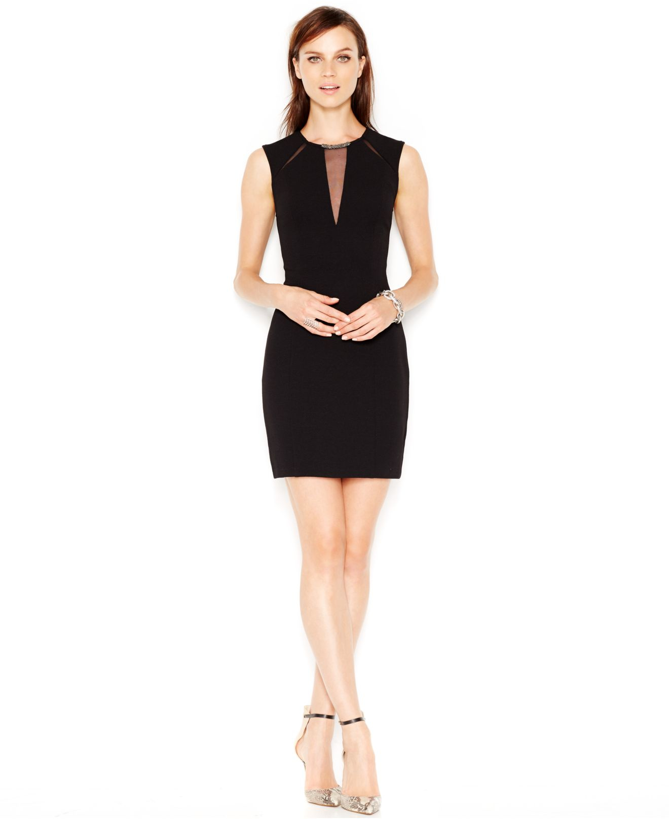 Guess Illusion Bodycon Dress in Black | Lyst