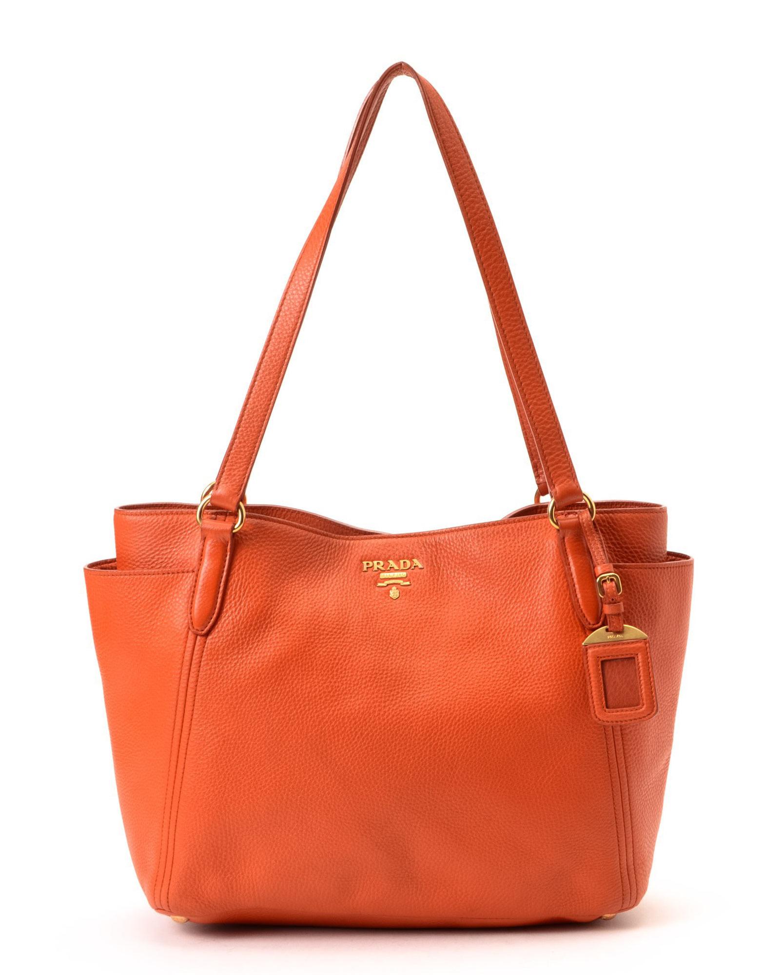 588f69928e90 france prada black nylon shoulder bag lyst 86a39 207aa  low cost lyst prada  tote vintage in orange 0821a ae750