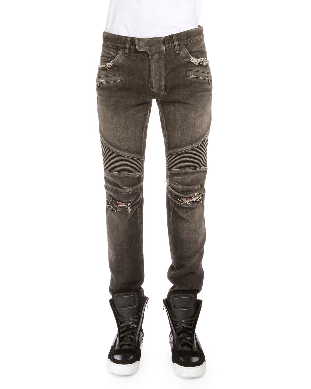 balmain distressed denim moto jeans in black for men lyst. Black Bedroom Furniture Sets. Home Design Ideas