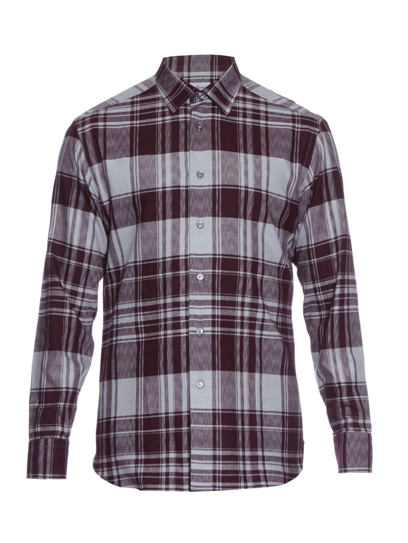 Lyst brioni checked cotton flannel shirt in purple for men for Purple and white checked shirt
