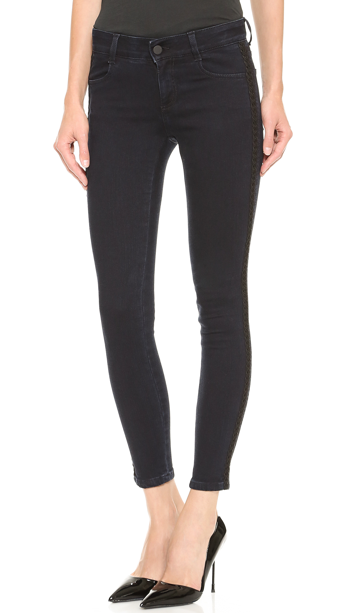 Stella McCartney Skinny Ankle Grazer Jeans  SHOPBOP   Use Code: STOCKUP18 to Save Up to 25%. hidden honeypot link Shop Men's Blue/Black. Please Select A Size These faded Stella McCartney skinny jeans and detailed with braided appliqué trim along the sides. 4-pocket styling. Single-button closure and zip fly.