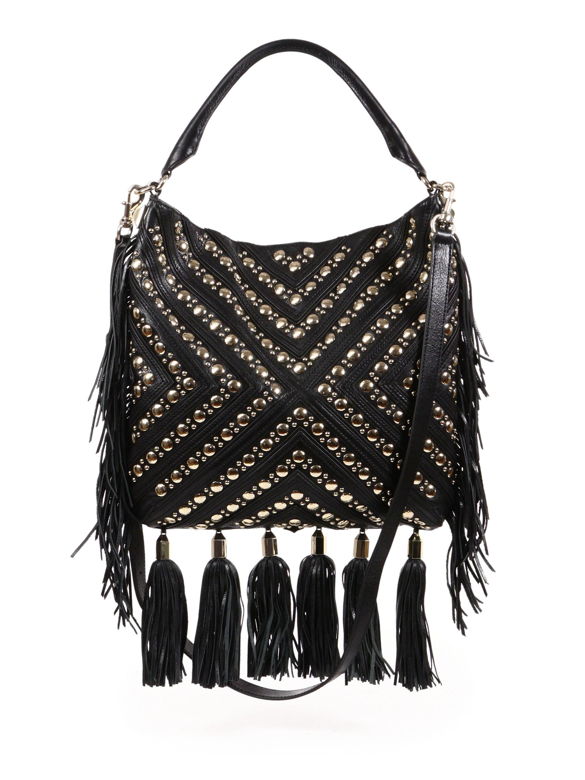 Studded Fringed Crossbody Bag In Black