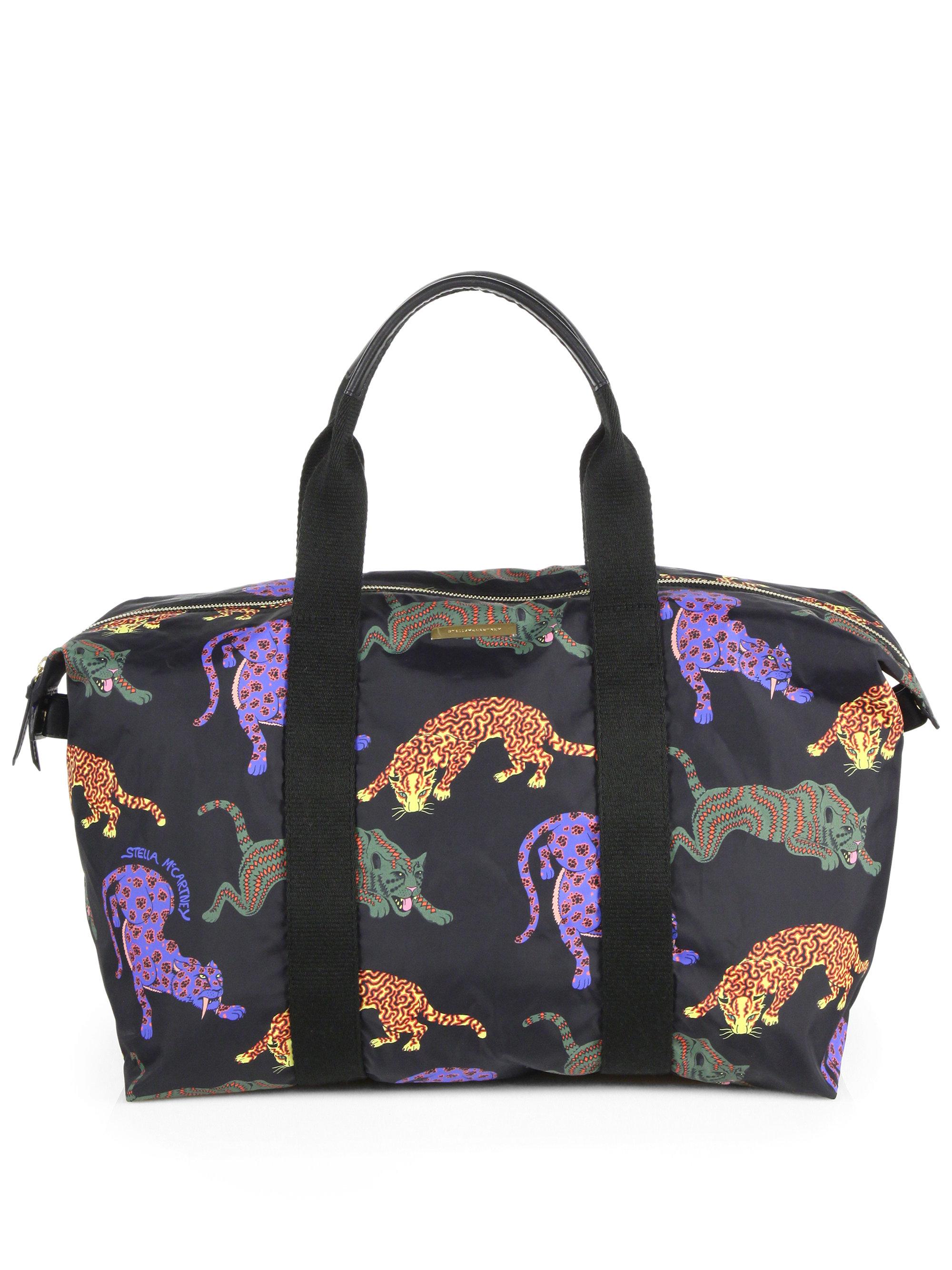 Lyst Stella Mccartney Multicolor Cat Nylon Travel Bag In