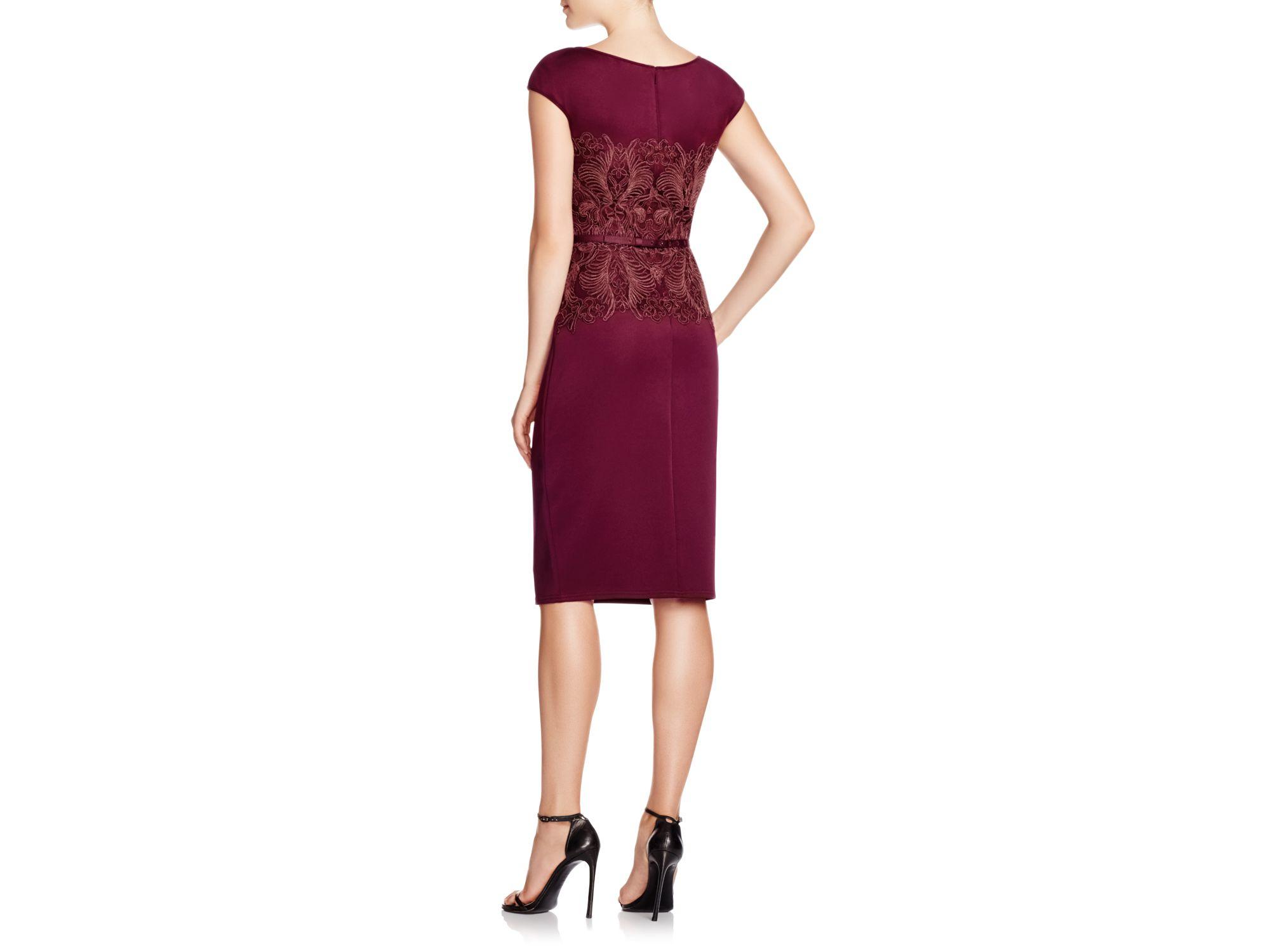 tadashi shoji cap sleeve lace bodice dress in purple lyst