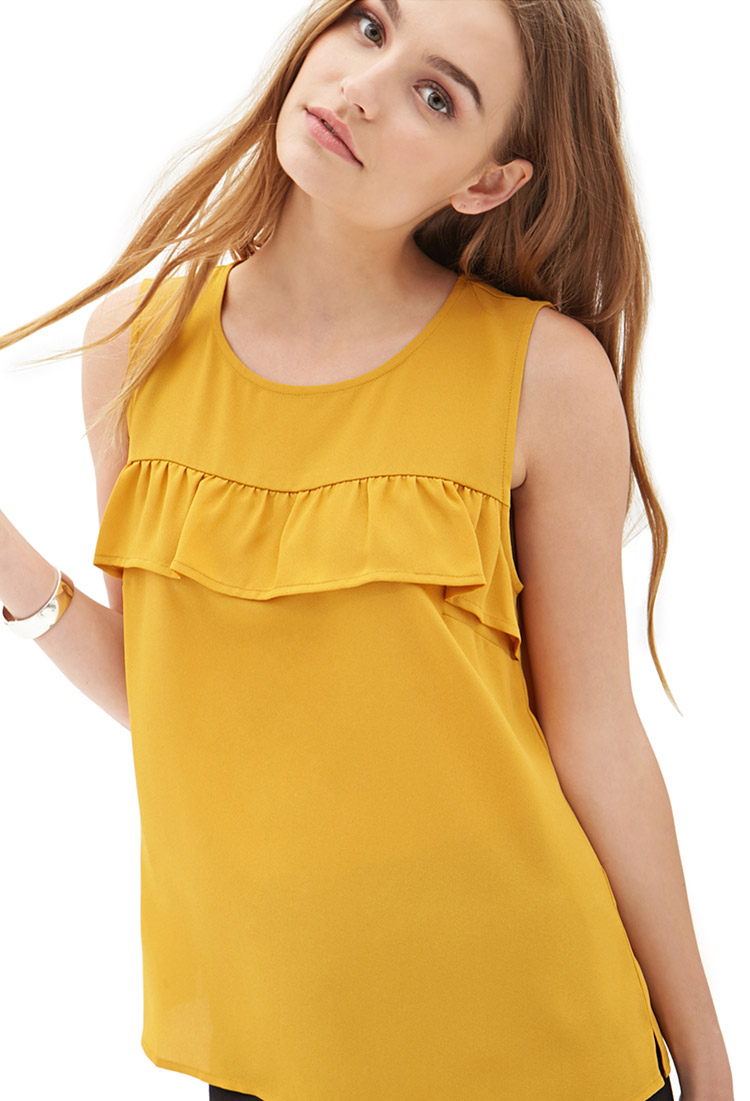Tom Jones Ford >> Forever 21 Ruffle Trim Woven Top You've Been Added To The ...