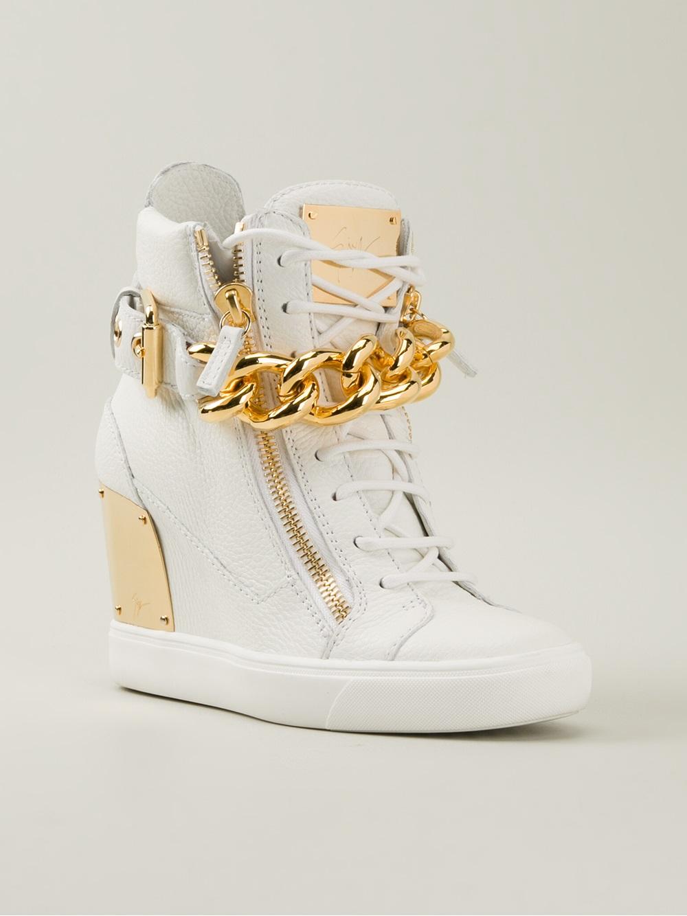 Lyst Giuseppe Zanotti Wedge Hi Top Sneakers In White