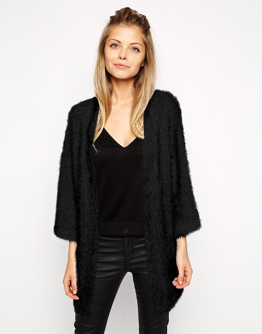 Asos Kimono Cardigan In Fluffy Knit in Black | Lyst