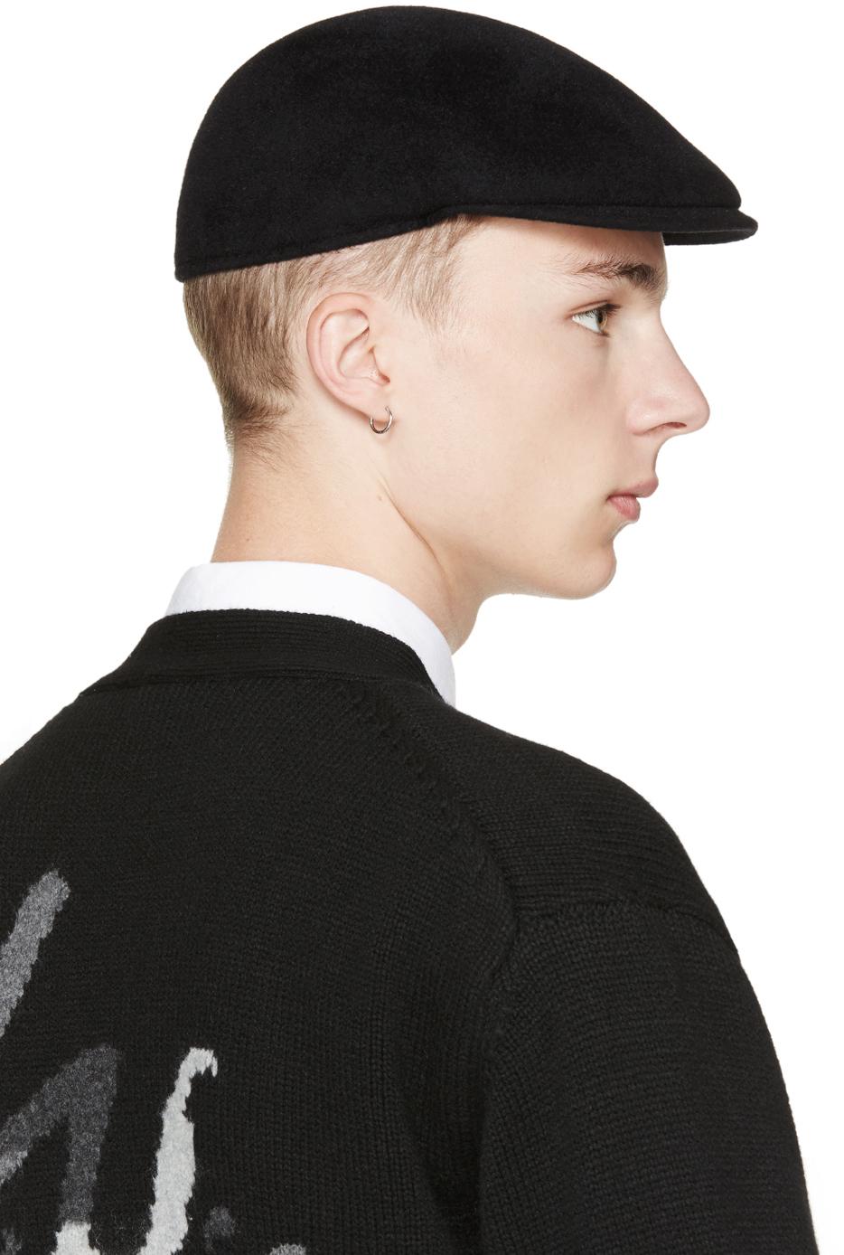 Yohji Yamamoto Black Wool Structured Flat Cap For Men Lyst