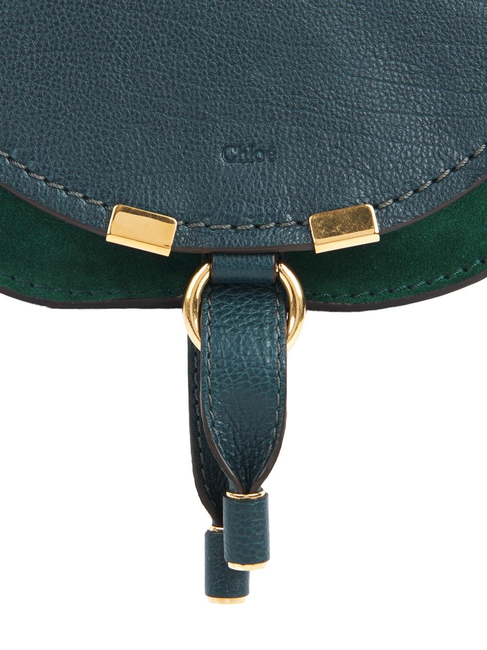 Chloé Marcie Small Leather Cross-Body Bag in Green