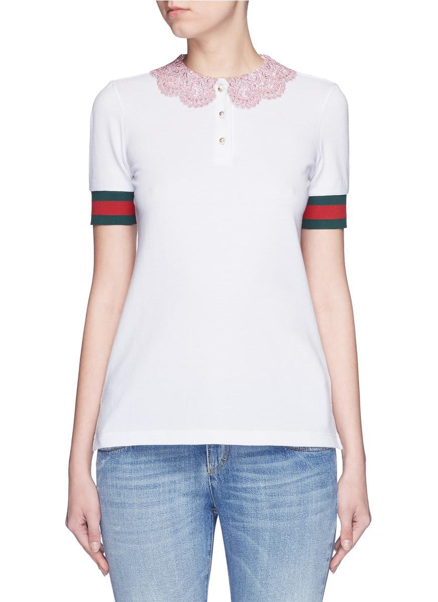 Gucci Macramé Collar Stripe Trim Piqué Polo Shirt in White - Lyst 648de1bac0