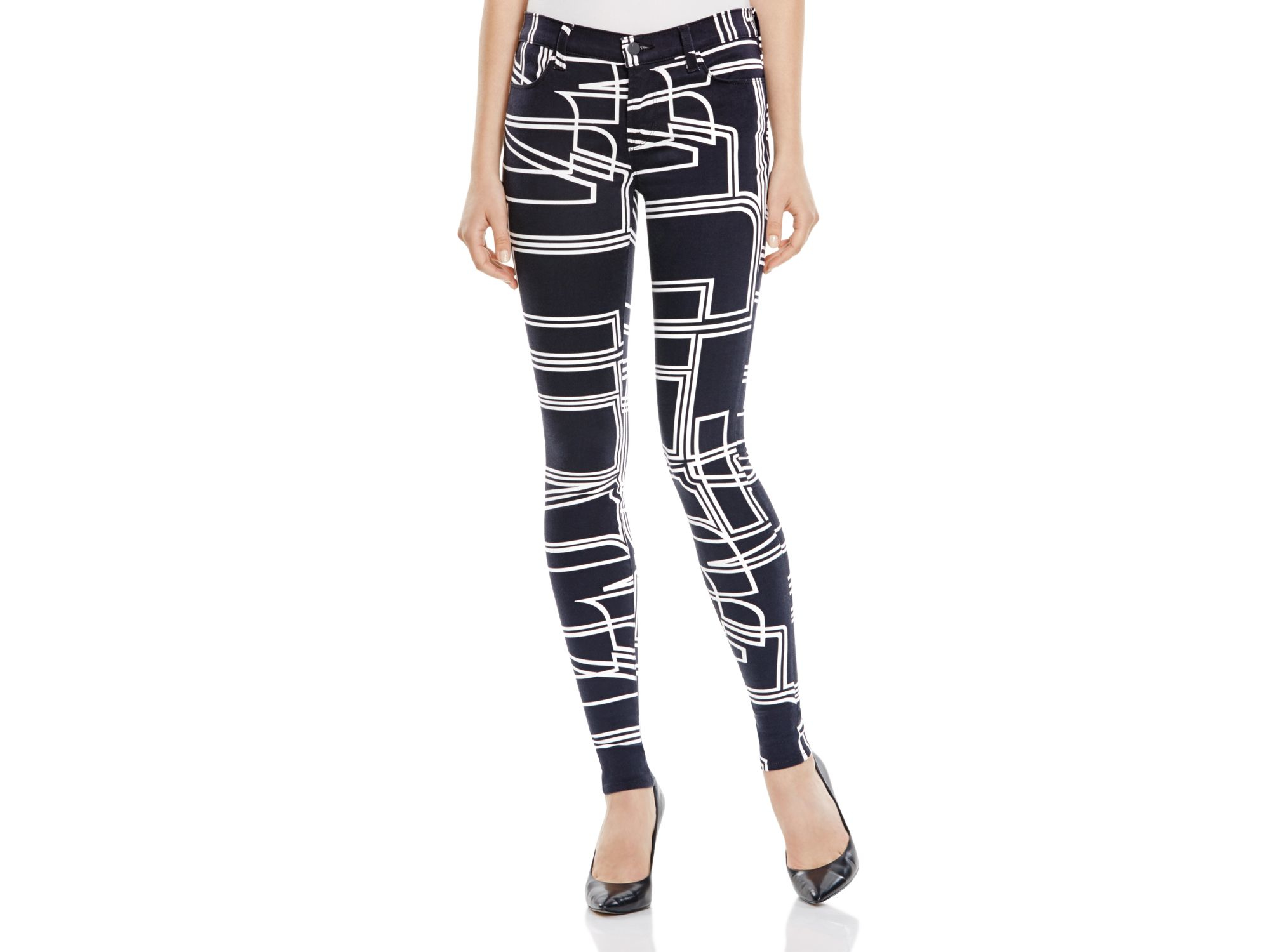 Black and white printed skinny jeans