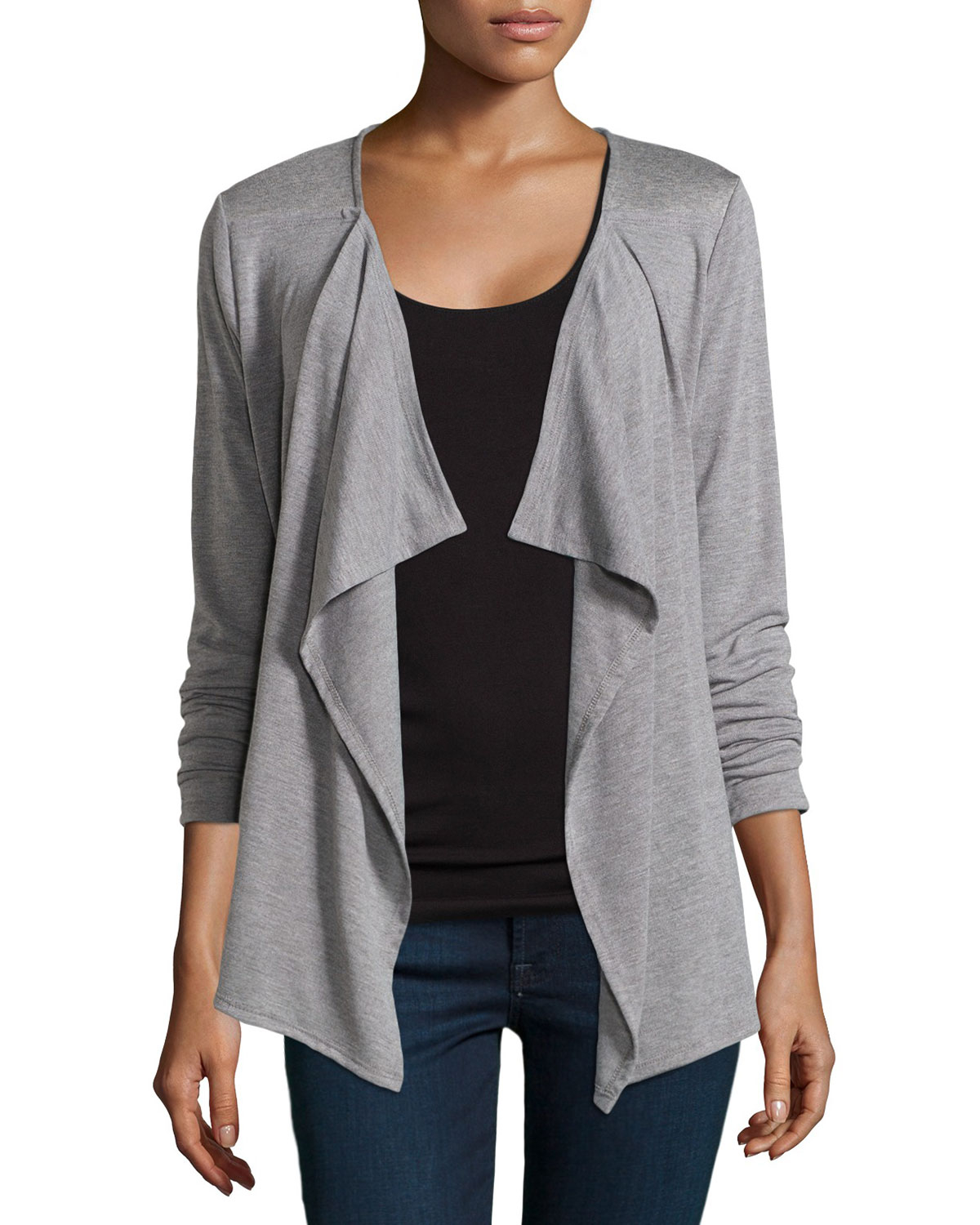 Neiman marcus Gathered-back Draped Cardigan in Gray | Lyst