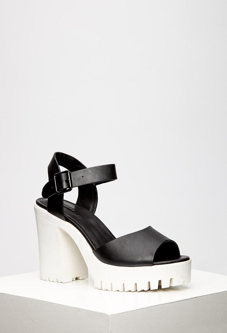 6aeb3510be4 Lyst - Forever 21 Lug Sole Platform Sandals in Black