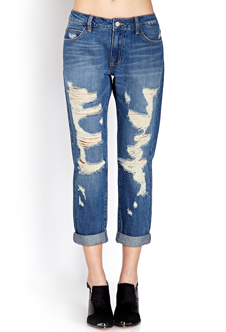 Gallery - Forever 21 Rustic Ripped Jeans In Blue Lyst