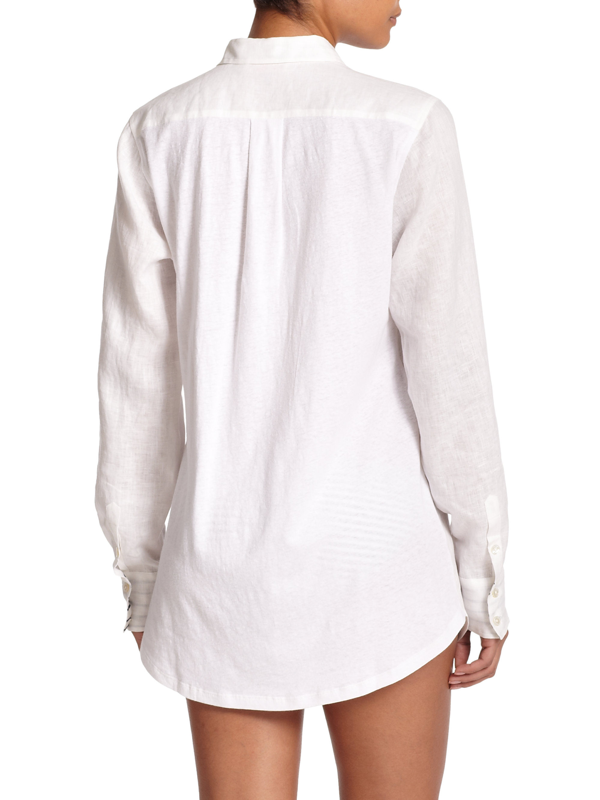 96debb4d4b Lyst - Tory Burch Linen   Cotton Shirt Cover-up in White