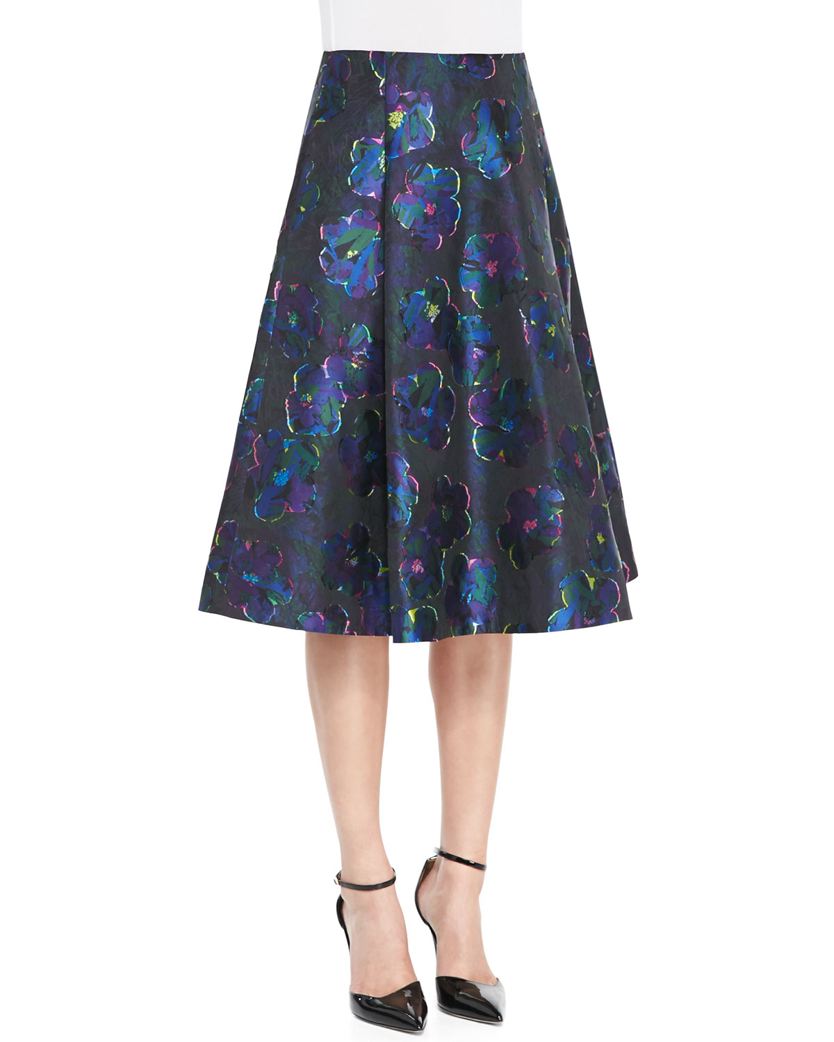 kate spade new york floral clip dot a line skirt in blue