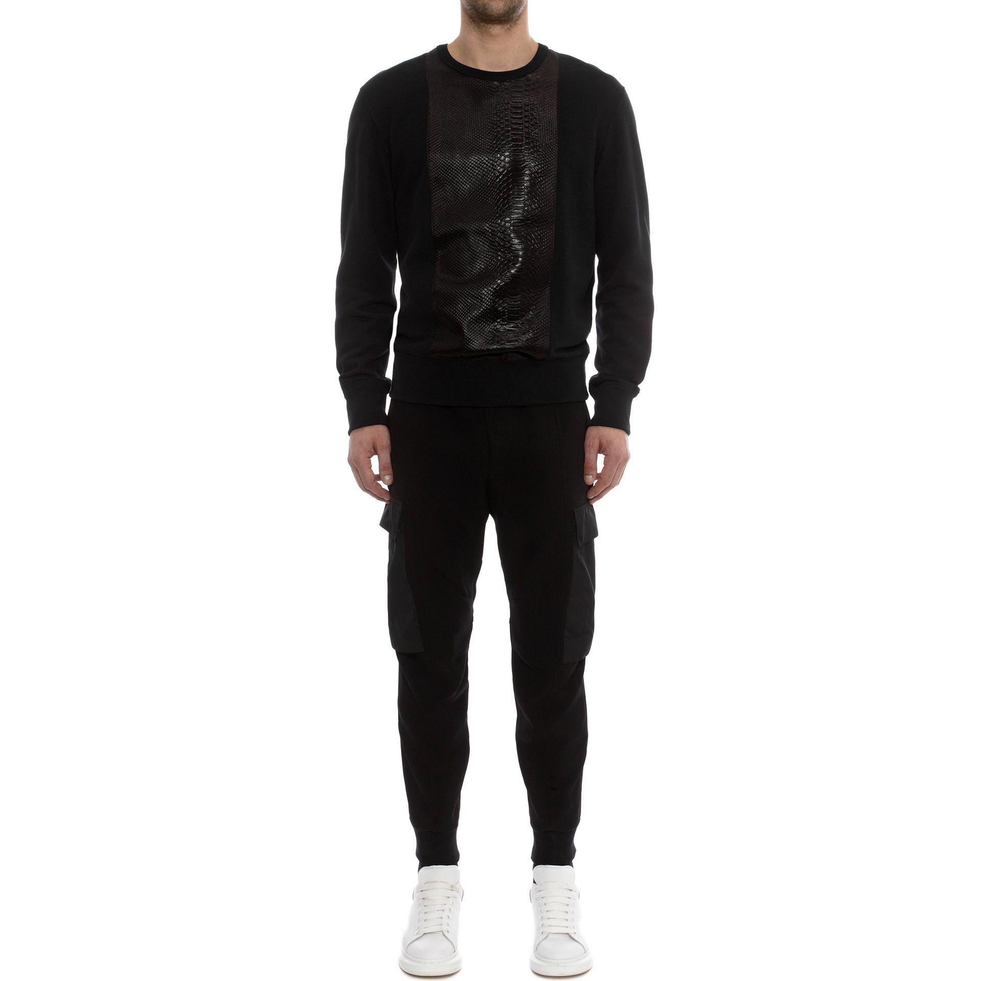 alexander mcqueen paneled sweatshirt in black lyst. Black Bedroom Furniture Sets. Home Design Ideas