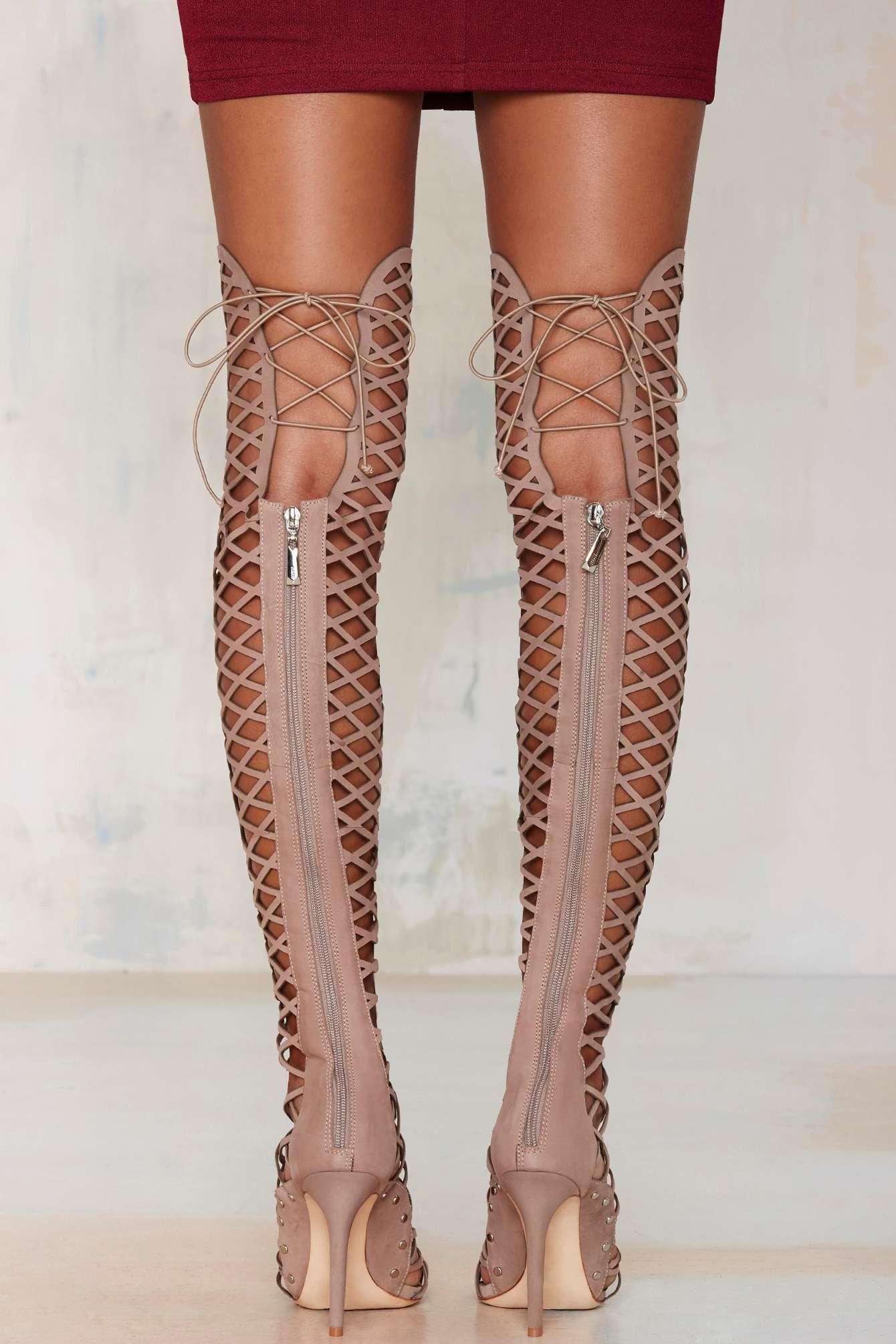 Lyst Nasty Gal Schutz Karlyanna Knee High Leather Heel