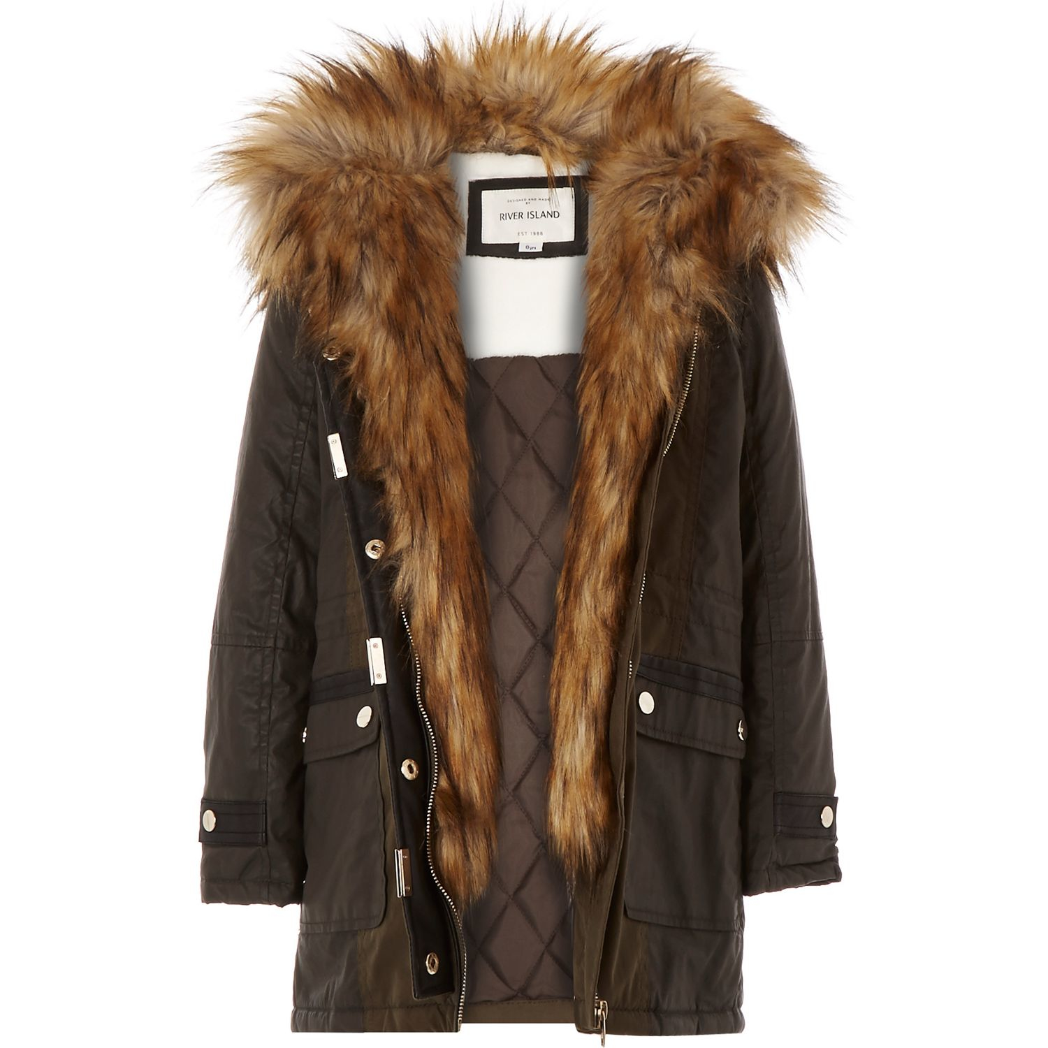 River Island Parka With Faux Fur Collar In Khaki