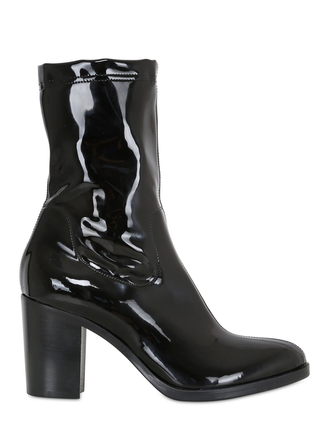 strategia 80mm stretch naplak effect ankle boots in black