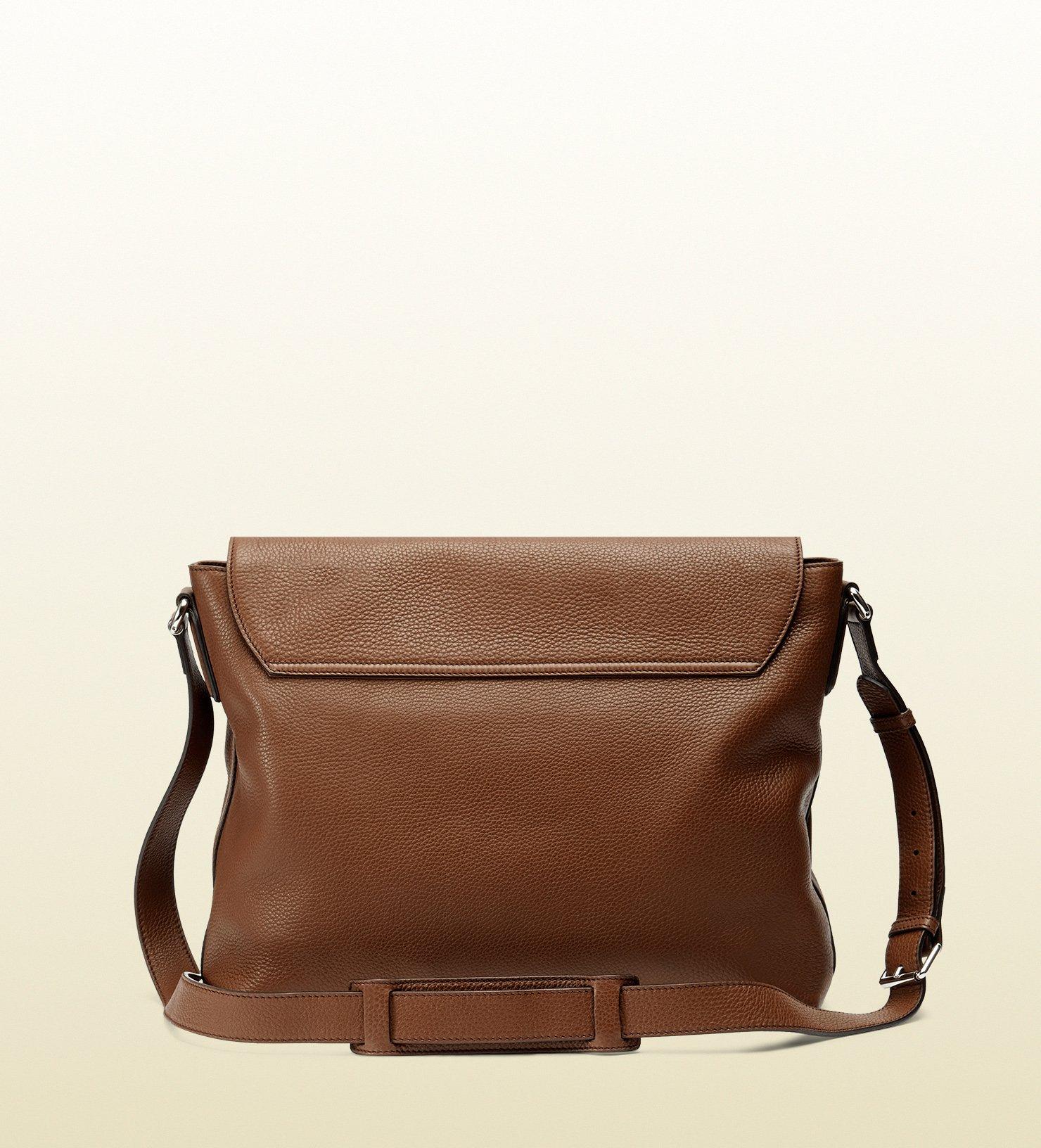 lyst gucci soho leather messenger bag in brown for men. Black Bedroom Furniture Sets. Home Design Ideas