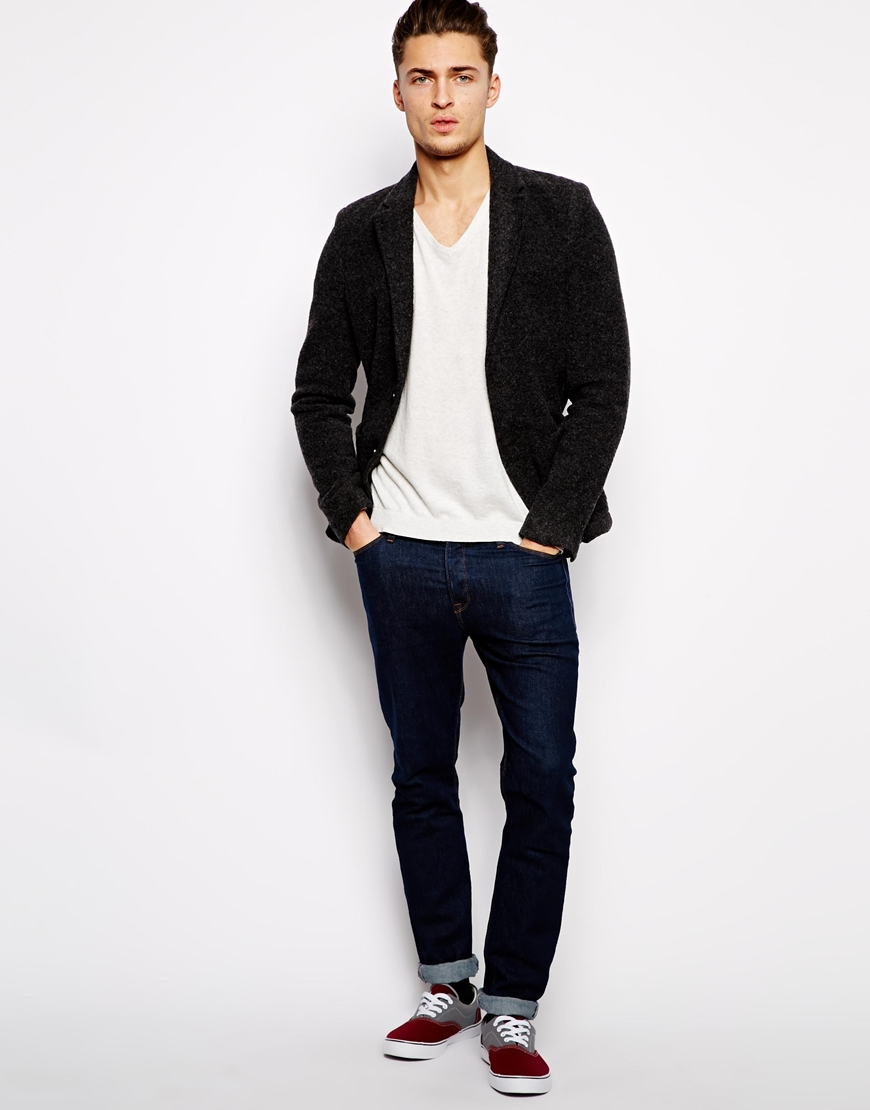 Pull bear jersey blazer in gray for men lyst for Bear river workwear shirts