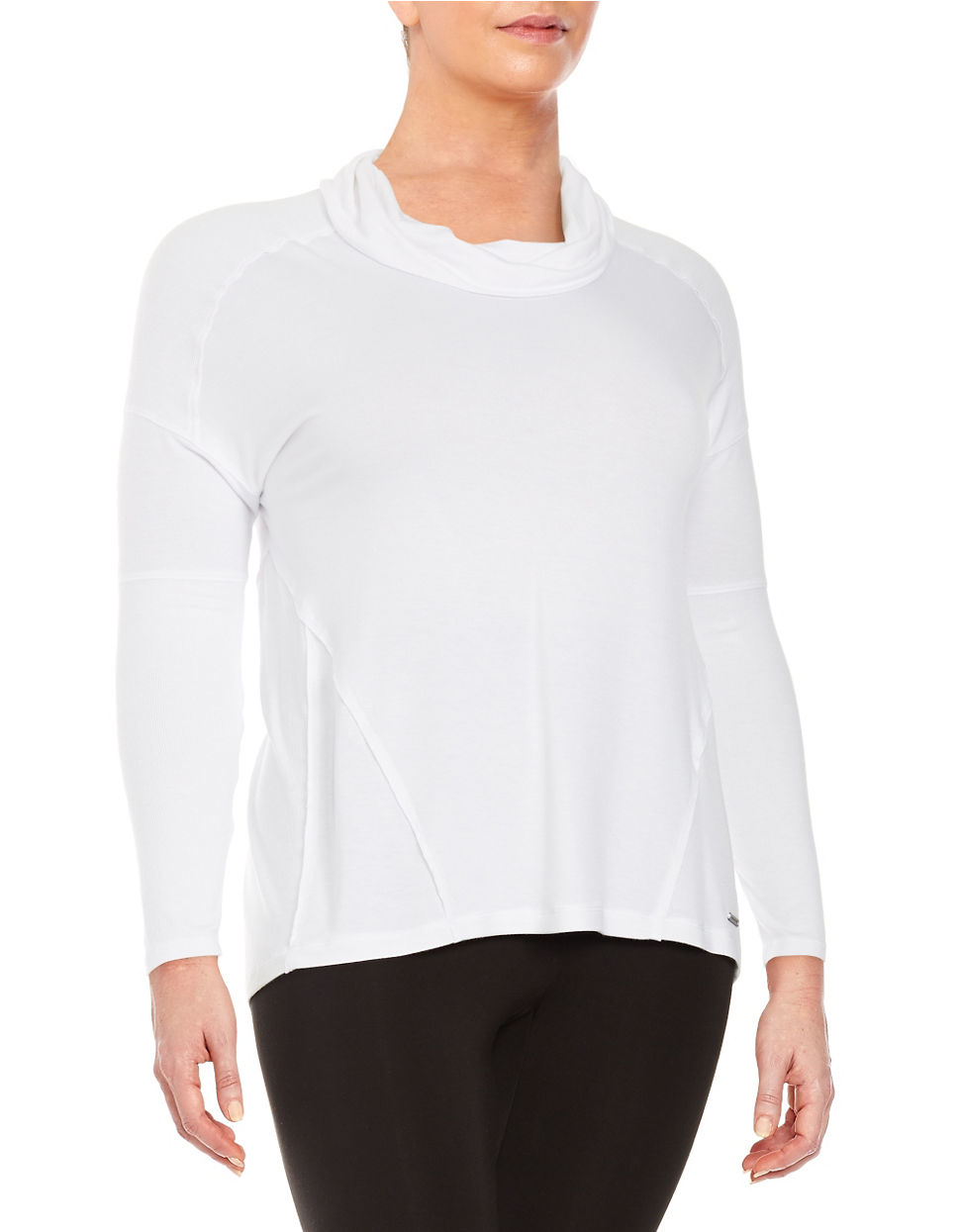 Marc new york cowlneck pullover top in white lyst for Best dress shirts nyc