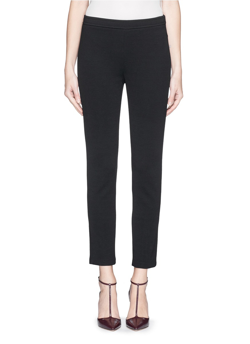 St John Milano Knit Slim Cropped Pants In Black Lyst
