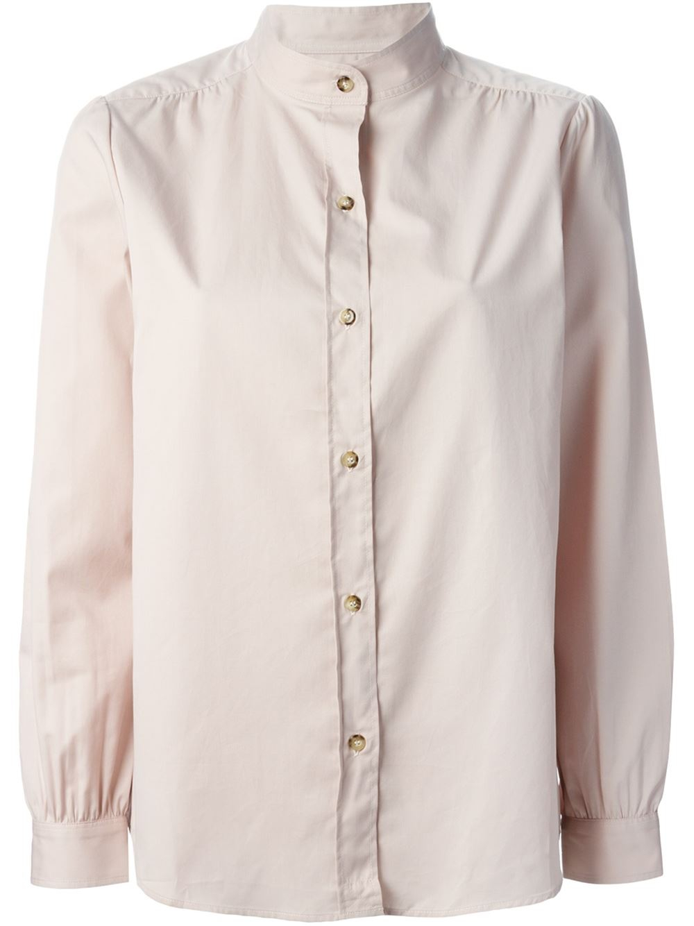 A p c stand up collar shirt in pink pink purple lyst for Stand collar shirt womens