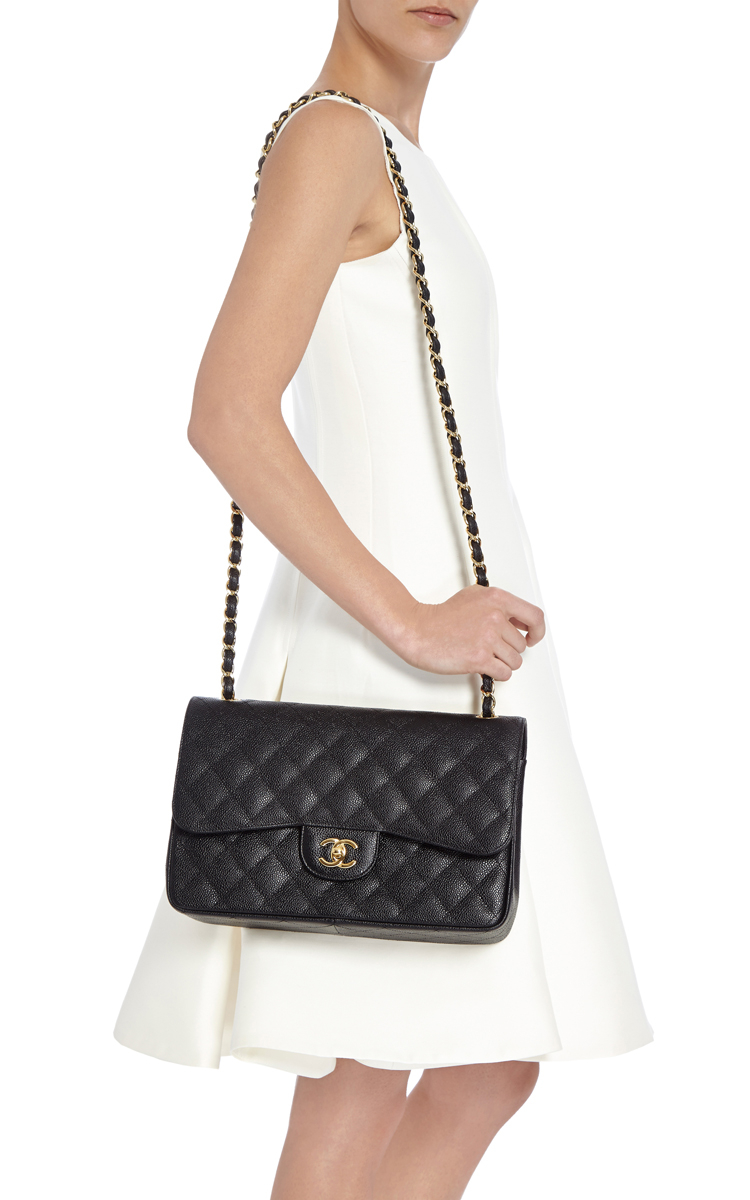 6bdd9f84ccb Madison Avenue Couture Chanel Black Quilted Caviar Jumbo Classic ...