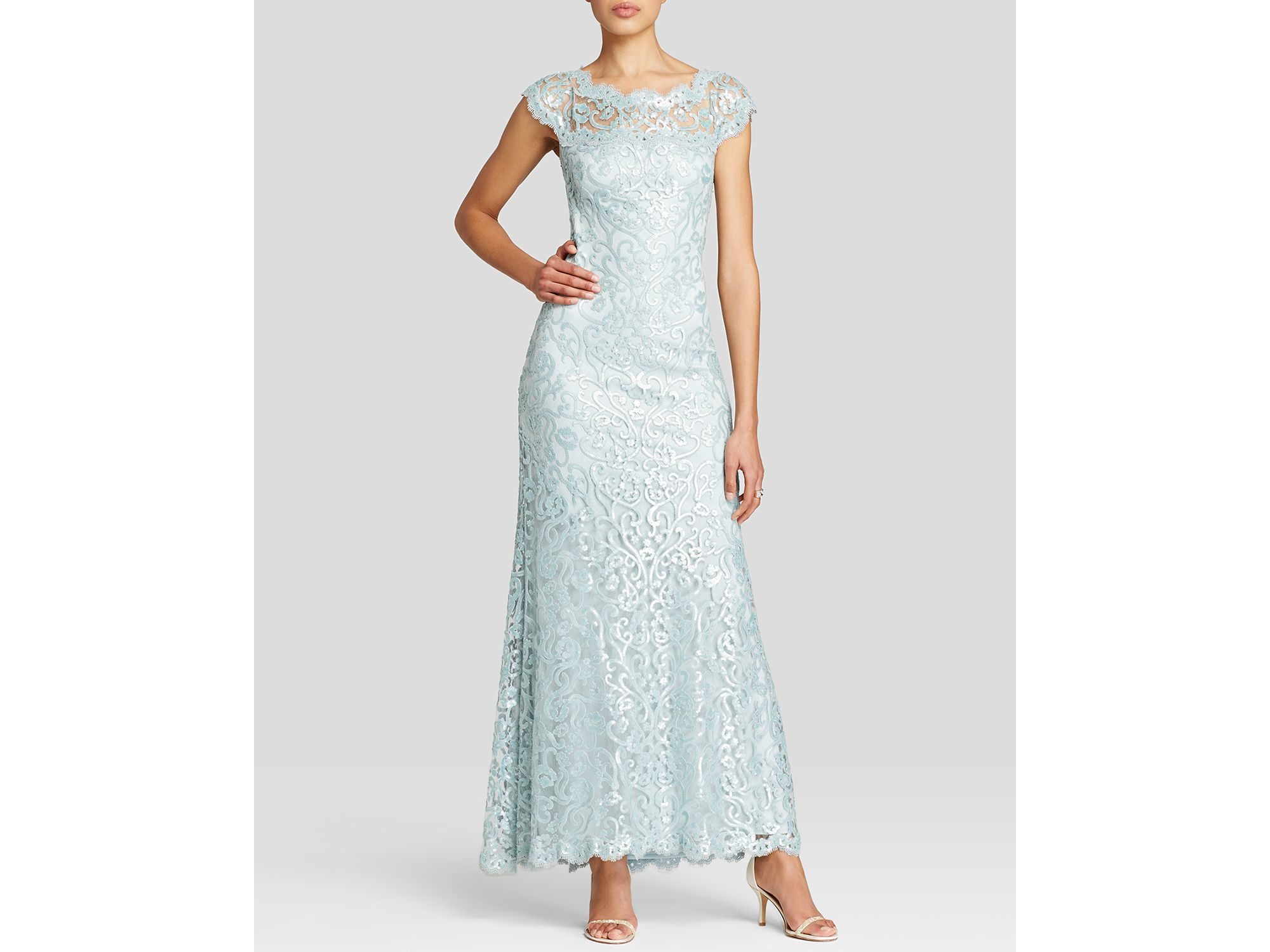 Lyst - Tadashi Shoji Gown - Cap Sleeve Illusion Neck Sequin Lace in ...