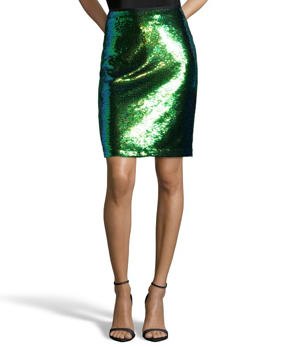 shoshanna mermaid sequin alycia knee length pencil skirt